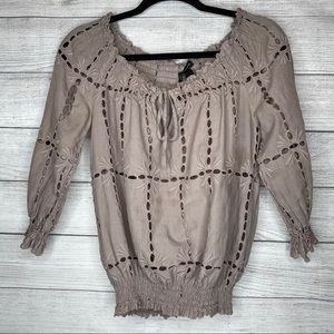 International Concepts Brown Eyelet Lace Top